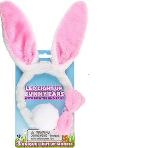 Light Up LED Plush Easter Bunny Ears and Tail